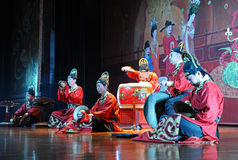 Musicians of the Xian Art Troupe. XIAN - NOVEMBER 23: Musicians of the Xian Art Troupe perform the famous Tang Dynasty show at the Xian Theatre on November 23 royalty free stock photos