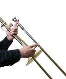 Musicien avec un trombone Photo stock