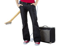 Musicien avec une guitare sur le sien en arrière Image libre de droits