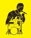 Musicien chantant et jouant le tambour, bande de musique, artiste illustration de vecteur