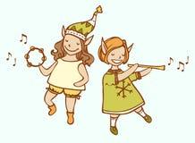 Musicien d'elfe de Noël deux Photos libres de droits