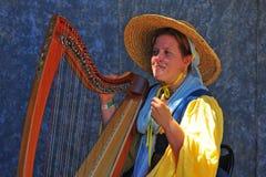 Musicien de fayre de la Renaissance jouant l'harpe. Image stock
