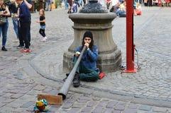 Musicien de rue dans Lvov image stock