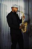 Musicien de saxophone Photographie stock libre de droits