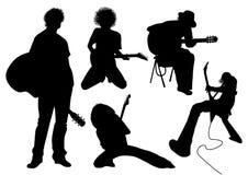 Musicien de silhouette de vecteur avec la guitare Photos libres de droits