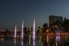 Musicien et les fontaines d'éclairage à la ville de nuit photos libres de droits