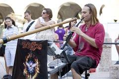 Musicien ethnique aux Buskers à Ferrare Images libres de droits