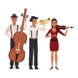 Musicien jouant la basse et le violon de trompette illustration libre de droits