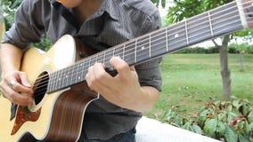 Musicien jouant la guitare en parc clips vidéos