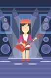 Musicien jouant la guitare électrique Image stock