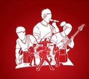 Musicien jouant la musique ensemble, bande de musique, artiste illustration de vecteur