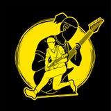 Musicien jouant la musique ensemble, bande de musique, hommes jouant le vecteur de graphique de guitare électrique illustration libre de droits