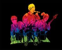 Musicien jouant la musique ensemble, bande de musique, vecteur de graphique d'artiste illustration de vecteur