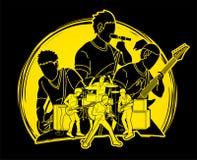 Musicien jouant la musique ensemble, bande de musique, vecteur de graphique d'artiste illustration libre de droits