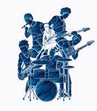 Musicien jouant la musique ensemble, vecteur graphique de graphique de vecteur de bande de musique illustration de vecteur