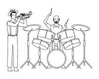 Musicien jouant la trompette et les tambours noirs et blancs illustration libre de droits