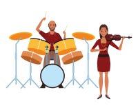 Musicien jouant les tambours et le violon illustration stock