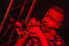 Musicien masculin jouant la trompette Photos stock