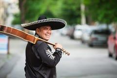 Musicien mexicain sur la rue de ville Images libres de droits