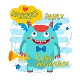 Musicien Pipe Monster Mascotte de monstre de bande dessinée Université de monstres Tuyau bruyant d'or Photos stock