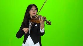 Musicien tenant et jouant le violon Écran vert banque de vidéos