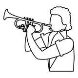 Musicien tropical noir jouant le caractère de trompette illustration libre de droits
