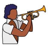 Musicien tropical noir jouant le caractère de trompette illustration de vecteur