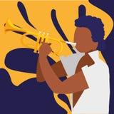 Musicien tropical noir jouant le caractère de trompette illustration stock