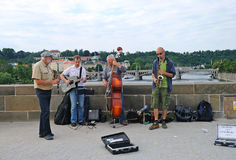 Musiciens à Prague Photo stock