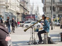 Musiciens d'artiste de rue à Milan, Italie, l'Europe Photo stock