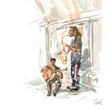 Musiciens de jazz de rue illustration stock