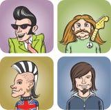 Musiciens de roche de divers genres de musique illustration de vecteur