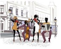 Musiciens de rue dans la ville Jazz-band Image libre de droits