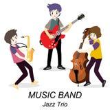 Musiciens Jazz Trio, guitare de jeu, guitariste solo, bassiste, saxophone Jazz-band Illustration de vecteur d'isolement sur le fo Image stock