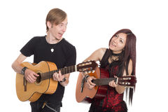 Musiciens jouant la guitare Photo stock