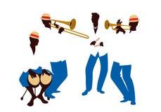 Musiciens latins de la bande quatre latins jouant les bongos, la trompette, les claves et le trombone illustration de vecteur