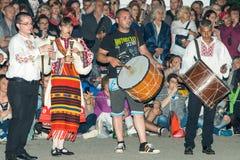 Musiciens nationaux aux jeux de Nestinar dans le village de Bulgari, Bulgarie Photos libres de droits