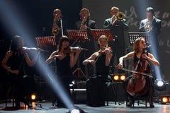 Musiciens sur l'étape du théâtre de Taganka Photographie stock libre de droits