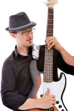 Musicist playing his guitar stock photos