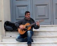 Musicista ambulante In Heraklion, Creta Grecia fotografie stock