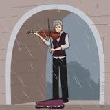 Musicista anziano della via che gioca violino Fotografia Stock