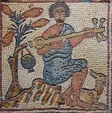 Musicista bizantino del mosaico della Libia Cyrenaica Fotografie Stock