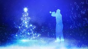 Musicista Blue Background dell'albero di Natale royalty illustrazione gratis