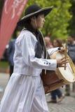 Musicista che esegue per l'apertura del Salta, Argentina di carnevale Immagini Stock