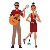 Musicista che gioca chitarra e che canta royalty illustrazione gratis