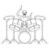 Musicista che gioca i tamburi in bianco e nero royalty illustrazione gratis