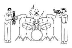 Musicista che gioca i tamburi del sassofono e suonare la tromba in bianco e nero illustrazione di stock