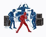 Musicista che gioca insieme musica, vettore del grafico della banda di musica royalty illustrazione gratis