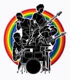 Musicista che gioca insieme musica, vettore grafico del grafico di vettore della banda di musica illustrazione vettoriale