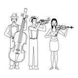 Musicista che giocano il basso della tromba e violino in bianco e nero royalty illustrazione gratis